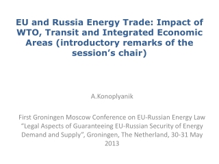 EU and Russia Energy Trade: Impact of WTO, Transit and Integrated Economic Areas (introductory remarks of the session's