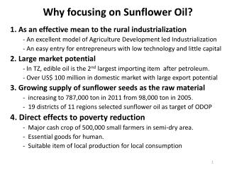 Why focusing on Sunflower Oil?