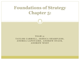 Foundations of Strategy  Chapter 5: