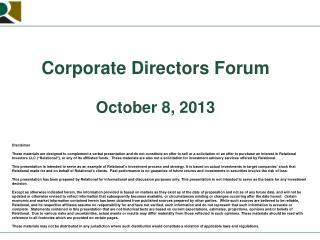 Corporate Directors Forum October 8, 2013