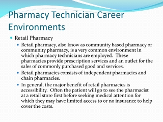 Pharmacy Technician Career Environments