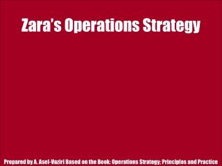 Zara�s Operations Strategy