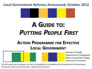 Local Government Reforms Announced, October 2012