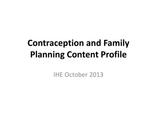 Contraception and Family Planning Content Profile
