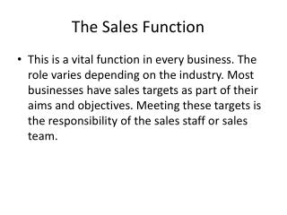 The Sales Function