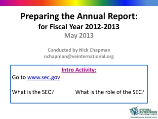 Preparing the Annual Report: for Fiscal Year 2012-2013