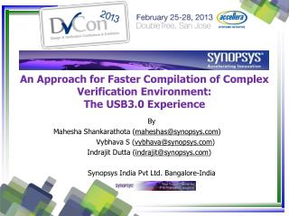 An  Approach for Faster Compilation of Complex  Verification Environment: The USB3.0 Experience