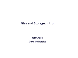 Files and Storage: Intro