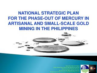 NATIONAL STRATEGIC PLAN  FOR  THE  PHASE-OUT  OF MERCURY IN ARTISANAL AND SMALL-SCALE GOLD MINING IN THE PHILIPPINES