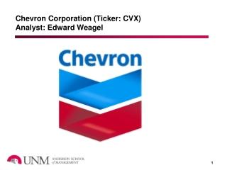Chevron Corporation (Ticker: CVX) Analyst: Edward Weagel