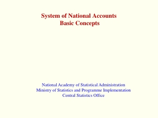System of National Accounts  Basic Concepts