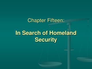 chapter fifteen:  in search of homeland security