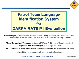 Patrol Team Language Identification System  for DARPA RATS P1 Evaluation