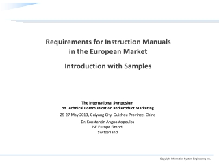 Requirements for Instruction  Manuals in the European Market Introduction with Samples