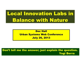 Local Innovation Labs in Balance with Nature