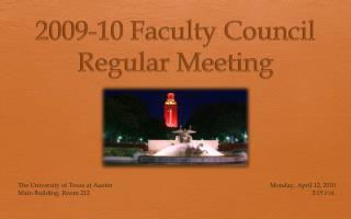 2009-10 Faculty Council Regular Meeting