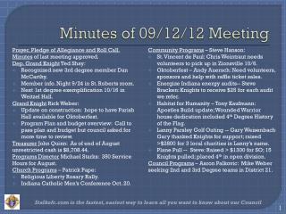 Minutes of 09/12/12  Meeting