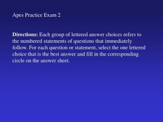 Apes Practice Exam 2