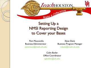 Setting Up a  NMSI Reporting Design  to Cover your Bases