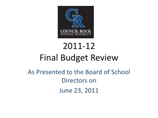 2011-12 Final  Budget Review