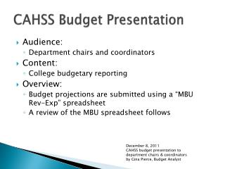 CAHSS Budget Presentation