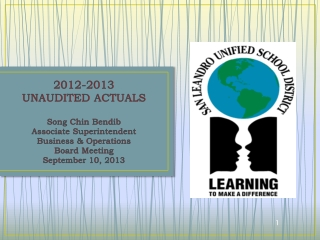 2012-2013 UNAUDITED ACTUALS  Song Chin Bendib  Associate Superintendent  Business & Operations Board Meeting  September