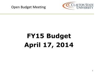 Open Budget Meeting