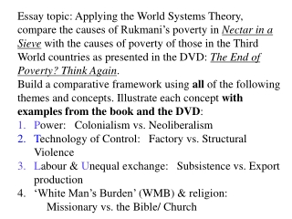 Integration into the world system: Power; Technology; Labour: (cont'd):  P ower:  (two  periods:  colonial,  neoliberal