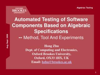 automated testing of software components based on algebraic specifications -- method, tool and experiments