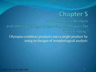 Chapter 5 Morphological Analysis and other paradigm preserving techniques for �Idea Finding�