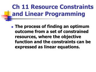 ch 11 resource constraints and linear programming
