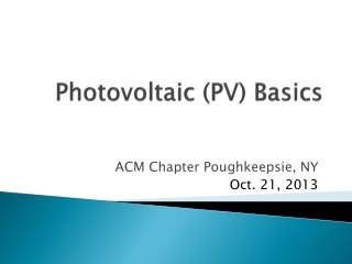 Photovoltaic (PV) Basics