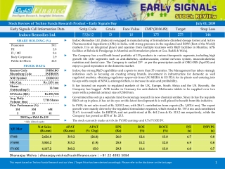 This report based on Techno Funda Research and our View / Target Price has been derived accordingly. Please refer to th