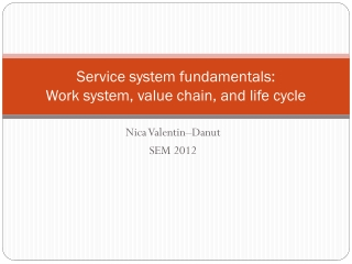 Service system fundamentals: Work system, value chain, and life cycle
