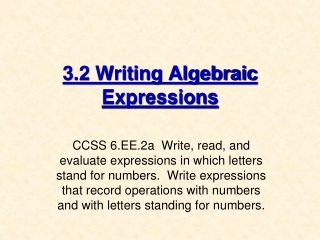 writing algebraic expressions