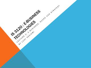 IS 3120 :  E-Business Technologies