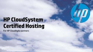 HP CloudSystem  Certified Hosting