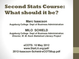 Second Stats Course: What should it be?
