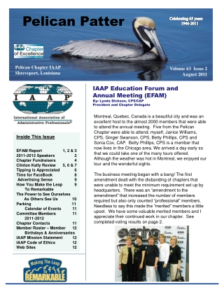 Inside This Issue EFAM Report1, 2 & 3 2011-2012 Speakers2 Chapter Fundraisers4 Clinton Kelly Review5, 6 & 7 Tipping