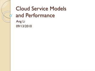 Cloud Service Models and Performance