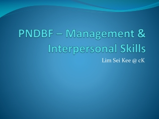 PNDBF – Management & Interpersonal Skills