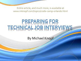 Preparing for  technical job interviews