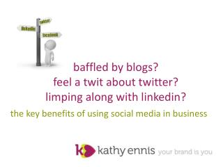 baffled by blogs?   feel a twit about twitter? limping along with  linkedin ?