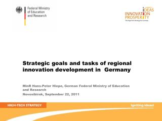 Strategic goals and tasks of regional  innovation development in  Germany