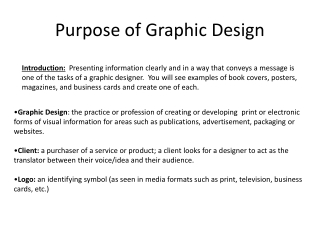 Purpose of Graphic Design