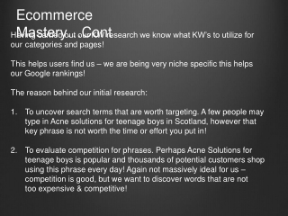 Ecommerce Mastery… Cont