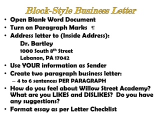 Block-Style Business Letter