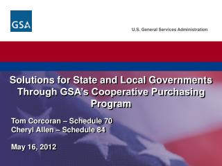 Solutions for State and Local Governments Through GSA�s Cooperative Purchasing Program