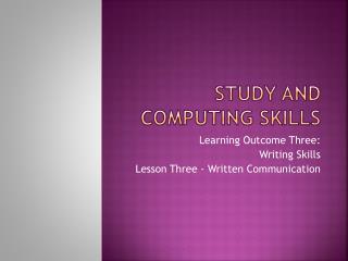 Study and computing skills