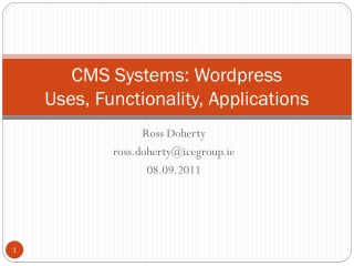 CMS Systems:  Wordpress Uses, Functionality, Applications
